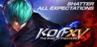 Le logo de The King of Fighters XV avec les inscriptions Shatter all expectations et coming 2021