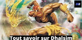 Dhalsim qui crache une boule de feu dans Street Fighter X Tekken avec la mention tout savoir sur Dhalsim