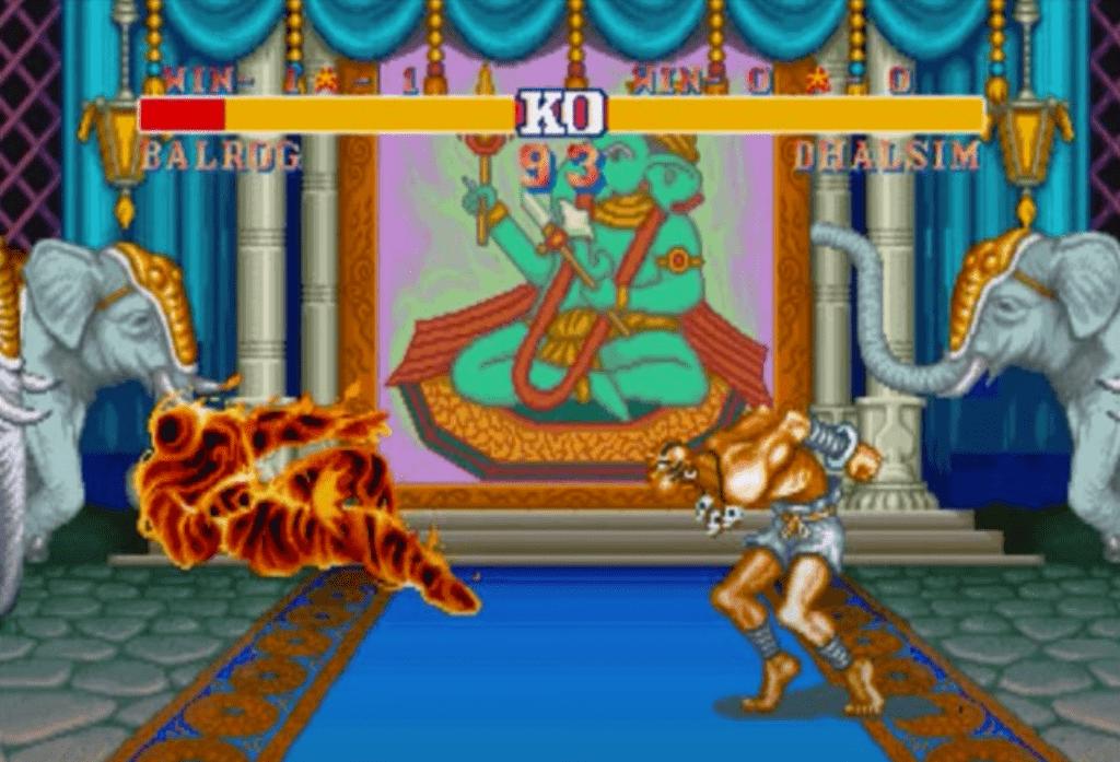Dhalsim dans Street Fighter II en train de cracher une boule de feu Yoga Fire