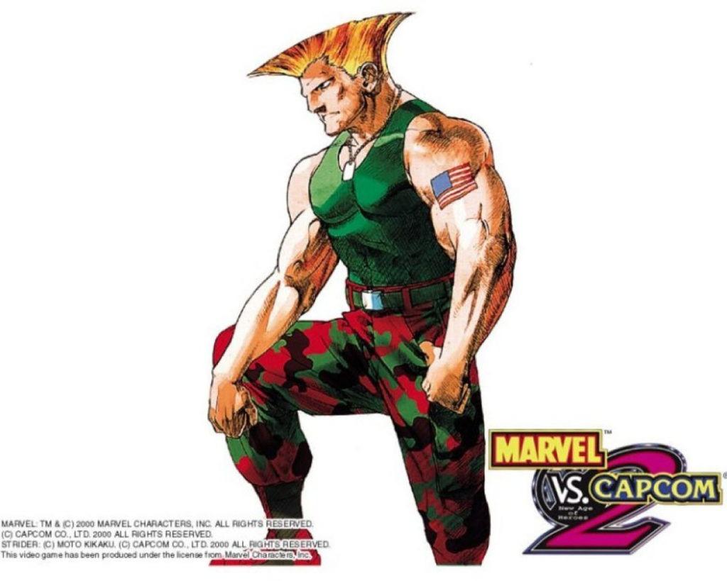Le personnage de Guile dans Marvel vs Capcom 2 portant un t-shirt vert et un pantalon treillis rouge
