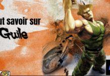 Guile devant une moto qui lève le bras droit sur fond orange avec le logo de Street Fighter IV