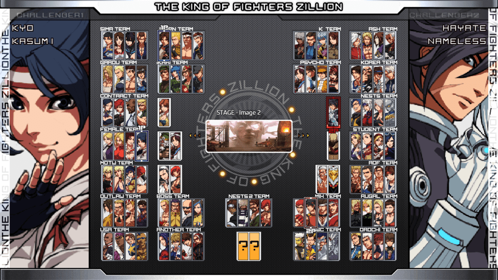 Le menu de sélection des personnages de The King of Fighters Zillion