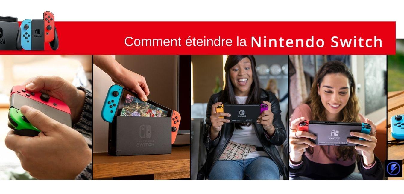 Un pouce pressant le bouton d'alimentation de la Nintendo Switch