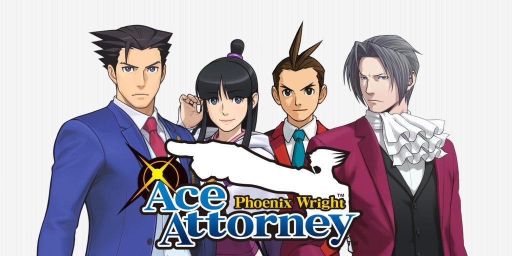 Le logo du jeu Ace Attorney Phoenix Wright devant les 4 personnages principaux
