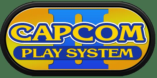 Le logo de la borne d'arcade CPS-2 de Capcom en jaune et bleu