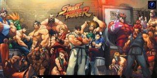 Les personnages de Street Fighter avec le logo de la série et l'inscription Liste des personnages