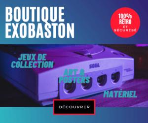 Publicité pour la boutique Exobaston avec une Dreamcast au centre