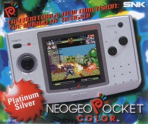 Publicité pour la Neo Geo Pocket Color avec logo et la console sur lequel joue The King of Fighters