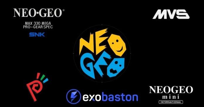 Les logos de différentes consoles NeoGeo : AES, MVS, Mini, Pocket