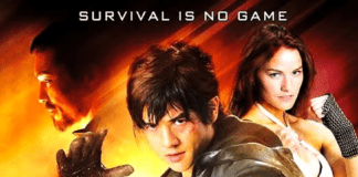Affiche du film Tekken avec Jin sur fond rouge