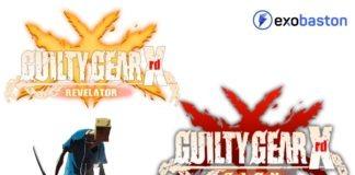 Les logos de Guilty Gear Xrd Sign et Revelator sur fond blanc avec le personnage de Faust et le logo d'exobaston