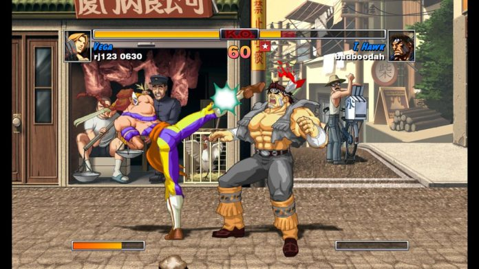 Vega donne un coup de pied à T-Hawk de Street Fighter II