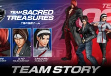 L'équipe de The King of Fighter XV Sacred Treasures composée de Iori, Kyo et Chizuru